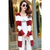 เสื้อคลุม แฟชั่น พร้อมส่ง สีแดงสลับสีขาว ลายริ้วใหญ่ ผ้าไหมพรมเนื้อนิ่ม MK3381