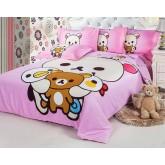 ชุดผ้านวม ผ้าปูที่นอน เกรดพรีเมี่ยม  ขนาด 6 ชิ้น  ชุดผ้านวม ลายหมี สีชมพู