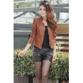 เสื้อแจ็คเก็ต เสื้อหนัง แฟชั่น แขนยาว สีน้ำตาล คอจีน MK1243