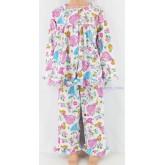 ชุดนอนเด็กหญิง ไซส์ 3-4 แขนยาว ขายาว ผ้ายืด (แบบคอระบาย กระดุมผ่าหน้ากุ๊น) คลิกดูลายเพิ่มเติม