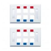 G-net หน้ากากพลาสติก 6 ช่อง w/Icon  Labels รุ่น GC-FP-US6-2 2 ชิ้น (สีขาว)