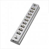 10 Port HUB Hi-Speed USB 2.0 พร้อม Power Adapter (สีเงิน)