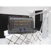 Chanel Boy flap bag Cavier Top Mirror Image 7 stars สีเทาอ่อนอะไหล่เงิน 9.8 นิ้ว