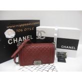 Chanel Boy flap bag Lamb skin Top Mirror Image 7 stars สีแดงอะไหล่เงิน 9.8 นิ้ว