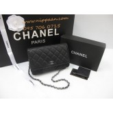Chanel Wallet on Chain or WOC Cavier Leather SHW Top mirror image สีดำหนังคาร์เวียร์โซ่เงินค่ะ