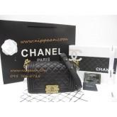 Chanel Boy flap bag Lamb skin GHW Top Mirror Image 7 stars สีดำอะไหล่ทอง 8 นิ้ว