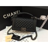 Chanel Boy Bag with Handle in Calfksin + Ruthenium Metal Hardware สีดำโซ่เงินค่ะ 9.8 นิ้ว