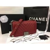 Boy Chanel Handbag Calfskin Top Mirror Image 7 stars สีแดงอะไหล่เงิน 9.8 นิ้ว