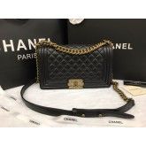 Chanel Boy flap bag  Calfskin  Top Mirror Image 7 stars สีดำ 9.8 นิ้ว อะไหล่ทอง