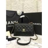 Chanel Small Coco Handle Bag black caviar 9.8 inch  สีดำอะไหล่ทองค่ะ