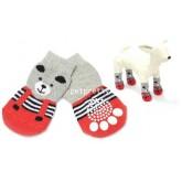 ถุงเท้าสุนัข-แมวนำเข้า สีแดงสลับเทารูปหมีน่ารัก ไซส์ S