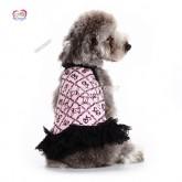 Clearance เสื้อสุนัขนำเข้ากระโปรงสายเดี่ยวสีชมพูวินเทจสไตล์CHANELน่ารัก size4,5