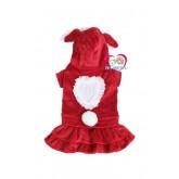 เสื้อสุนัข กระโปรงบันนี่สีแดงChristmasผ้าไม่หนา ใส่สบายแบบสวมผ้านิ่มยืดได้ size M