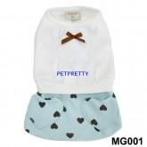 เสื้อสุนัข ชุดกระโปรงหรูแต่งลูกไม้ กระโปรงสีฟ้าน่ารักลายหัวใจยี่ห้อBUTTER size5 ตัวสุดท้าย
