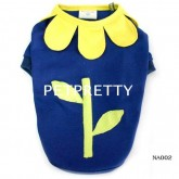 เสื้อสุนัข รอบคอดอกไม้แต่งได้น่ารัก สีน้ำเงินผ้าดีมาก ยี่ห้อBUTTER size 4