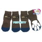 ถุงเท้าสุนัข-แมวนำเข้า ไซส์ใหญ่พิเศษสำหรับสุนัขพันธุ์โต  ลายผึ้งสีเทาเข้ม ไซส์2XL