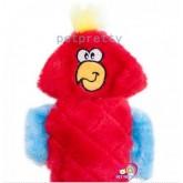 ของเล่นสุนัข Jigglerz ของเล่นตุ๊กตาไม่สอดไส้ มีเสียงแปลกเมื่อเขย่า นกแก้วสีแดง ขนาด 15นิ้ว