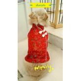 เสื้อสุนัข ชุดตรุษจีนปักลายสวย อาหมวย สีแดง size 6 อก  52-58  ยาว40 cm