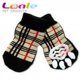 ถุงเท้าสุนัข-แมวนำเข้า มียางกันลื่น ลายสกีอตไซส์ S (จัดส่งฟรี)