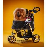 รถเข็นสุนัขIbiyaya Premium รุ่นMonarch สีทอง รองรับนน.สุนัข 1-28กก.เฟรมสีทอง