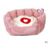 หมดที่นอนน้องหมาน้องแมว ฺButterผ้านุ่มมาก สำหรับสุนัข1-5กก.สีแดงลายทาง