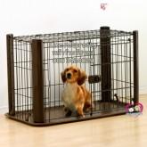 คอกน้องหมา แมว อีพ็อกซี่สีน้ำตาล IRIS  cage Japan มีถาดรองและหลังคา สำหรับหมาเล็ก