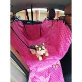 ผ้าคลุมเบาะรองหลังรถยนต์กันขนสุนัข-แมวนำเข้าอย่างดี สีชมพูจุด ขนาด 160x130x3ซม. แบบ2ที่นั่ง