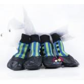 ถุงเท้าสุนัข นำเข้า รุ่นกันน้ำ มียางกันลื่นใต้เท้า ลายสีฟ้า ไซส์ 6 (XXL)(จัดส่งฟรีลทบ)