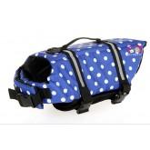 เสื้อชูชีพสุนัขนำเข้า สีฟ้าจุด  รอบอก 40-52 cm size M (มีแถบเรืองแสง)