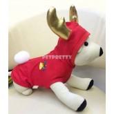 เสื้อสุนัขสีแดง มีฮู้ด กวาง  X-MAS  ผ้าเนื้อดียืดและนุ่มยี่ห้อBUTTER size1-6