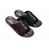 ADDA รองเท้าแตะแบบสวมสีดำตรงแถบสวมเป็นผ้า