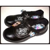รองเท้านักเรียน ผู้หญิง แบบมีสายคาด นักเรียน ม.ต้น ม.ปลาย ของยี่ห้อ เกอรี่แก้ง  สีดำ