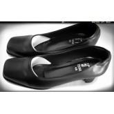 รองเท้าหัวตัด ส้น 1นิ้วครึ่ง สีดำ หนังด้าน เบอร์ใหญ่ ไชล์พิเศษ
