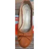 รองเท้าคัชชูแฟชั่น ส้นสูง 2 นิ้ว มีลายข้างหน้า สีน้ำตาล ผู้หญิง  หัวกลม