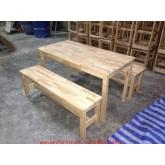 pmy2-25 โต๊ะเก้าอี้นักเรียนกลุ่มเด็กอนุบาล ไม้ยางพารา ม้านั่งยาว 2 ตัว