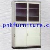 ตู้เหล็กบานเลื่อนกระจก + ตู้บานเลื่อนทึบ + ขารอง kkw4-13
