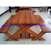 เก้าอี้สนาม,ม้านั่งสนาม,ชุดโต๊ะสนามไม้สักทอง ยาว 1.80เมตร kkw14-5