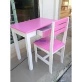 โต๊ะเก้าอี้นักเรียนระดับมัธยม ไม้ยางพาราทำสี มีลิ้นชัก kkw1-40