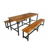 โต๊ะโรงอาหารหน้าไม้สักตีระแนง โครงขาเหล็กแบบขาตาย ยาว 180เมตร kkw23-8