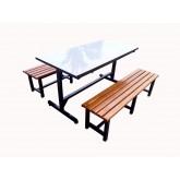 โต๊ะโรงอาหารขาตัว I หน้าโต๊ะโฟเมก้าขาว ม้านั่งไม้สักตีระแนง ยาว 1.20เมตร kkw23-10
