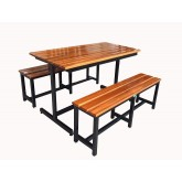 โต๊ะโรงอาหารแบบขาตัว I หน้าไม้สักตีระแนง ยาว 1.20เมตร kkw23-11