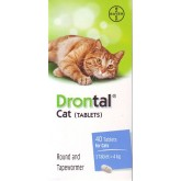 Drontal Cat Tablets ดรอนทัล ยาถ่ายพยาธิรวม สำหรับแมวโดยเฉพาะ (1 เม็ด) Exp 09/2023