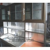 ตู้ครัวพร้อมซิ้งค์ล้างจานสแตนเลสหลุมเดี่ยว ขนาด 1.50 เมตร โครงตู้เป็นอลูมิเนียมอย่างดี ยี่ห้อนิสสิน