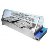 ตู้โชว์อาหารไฟฟ้า มีถาดอุ่นร้อน 4+1 ถาด รุ่น NT-HBM-100
