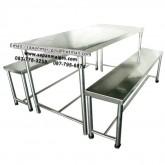 โต๊ะสแตนเลส พร้อมเก้าอี ขนาด150 ซม.