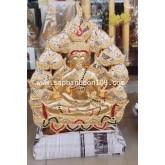 งานไม้แกะสลัก  : พระพุทธเจ้าล้อมใบโพ  ปิดทอง ประดับกระจก  งานหัตถกรรมไม้ไทย