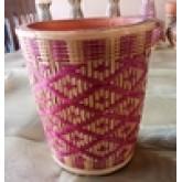 กระถางลายดอก แบบสานเต็มกระถาง สีชมพู