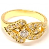 แหวนผู้หญิงหุ้มทองคำแท้ฝังเพชร CZ ที่หน้าแหวนลายลูกศร