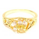 แหวนผู้หญิงหุ้มทองคำแท้ฝังประดับอัญมณีสีเหลือง บุษราคัมและเพชร CZ หน้าแหวนลายดอกไม้