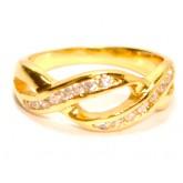 แหวนผู้หญิงหุ้มทองคำแท้ฝังเพชร CZ HEART AND ARROW CUT หน้าแหวนลายเกลียวเชือกไขว้